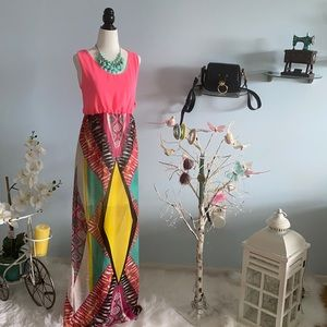 Chiffon summer sleeveless Colourful long dress